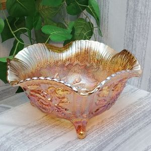VTG Imperial Carnival Glass Marigold Footed Bowl